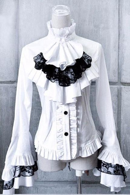 Lolita Gothic Victorian White Black Women Blouses Lace Flare