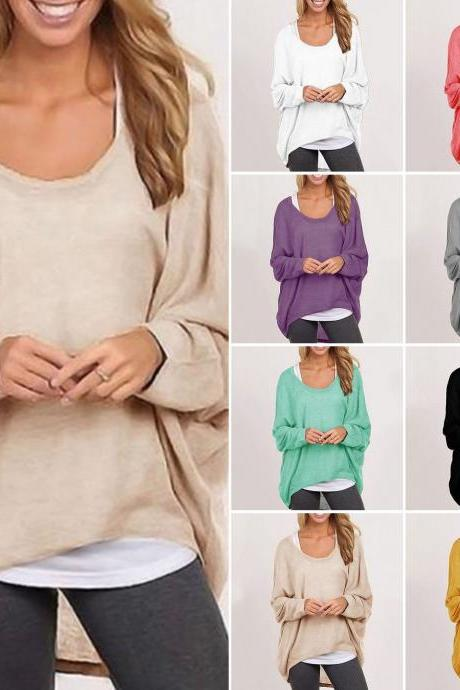 Women Plus Size Long Sleeve Pullover Ladies Loose Baggy Casual Top Jumper