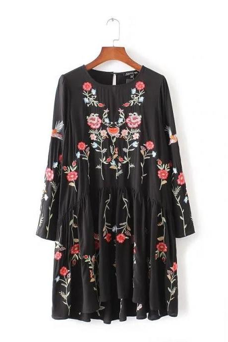 Black Floral Embroidered Long Sleeve Short Dress